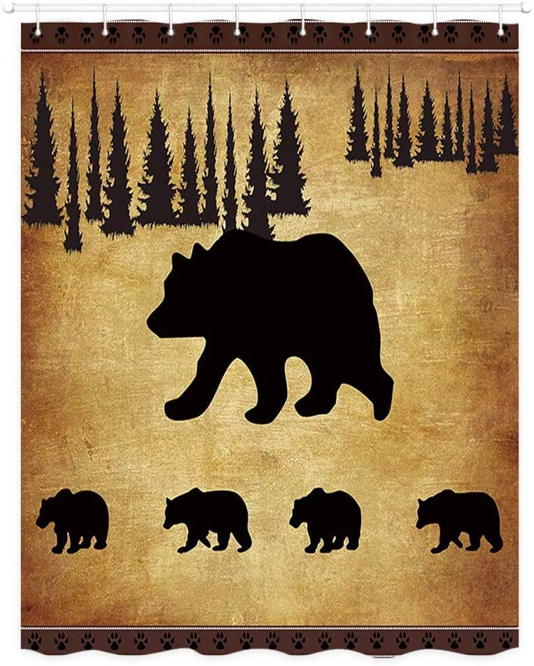 JAWO Animal Bear Shower Curtain, Rustic Cabin Pine Forest Wildlife Design Fabric Bath Curtains, Vintage Stall Shower Curtains, Small Size Polyester Shower Curtain 48 X 70 Inches with Plastic Hooks