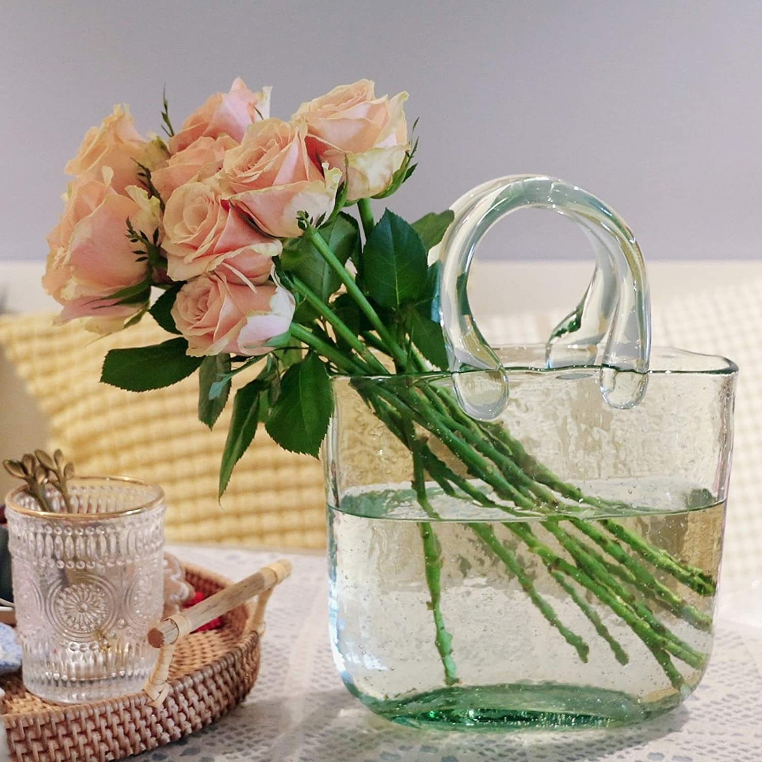 Glass Flower Vases for Centerpieces Floral Contemporary Big Bag Style with Handle Light Green Flower Bud Arrangement Vases Fish Bowl for Dining Table Home Events Decor