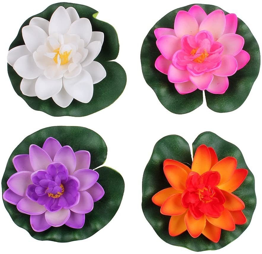 Set Of 4 Different Color Artificial Floating Foam Lotus Flower Water Lily for Home Garden Pond Decor,Small