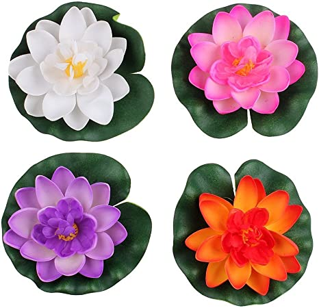 4pcs artificial plastic lotus flower small home garden decoration for vase photo