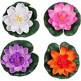 Lot de 4différentes couleurs Fleurs Artificielles Lotus Flottant en mousse Water Lily pour Home Decor bassin de jardin, petit