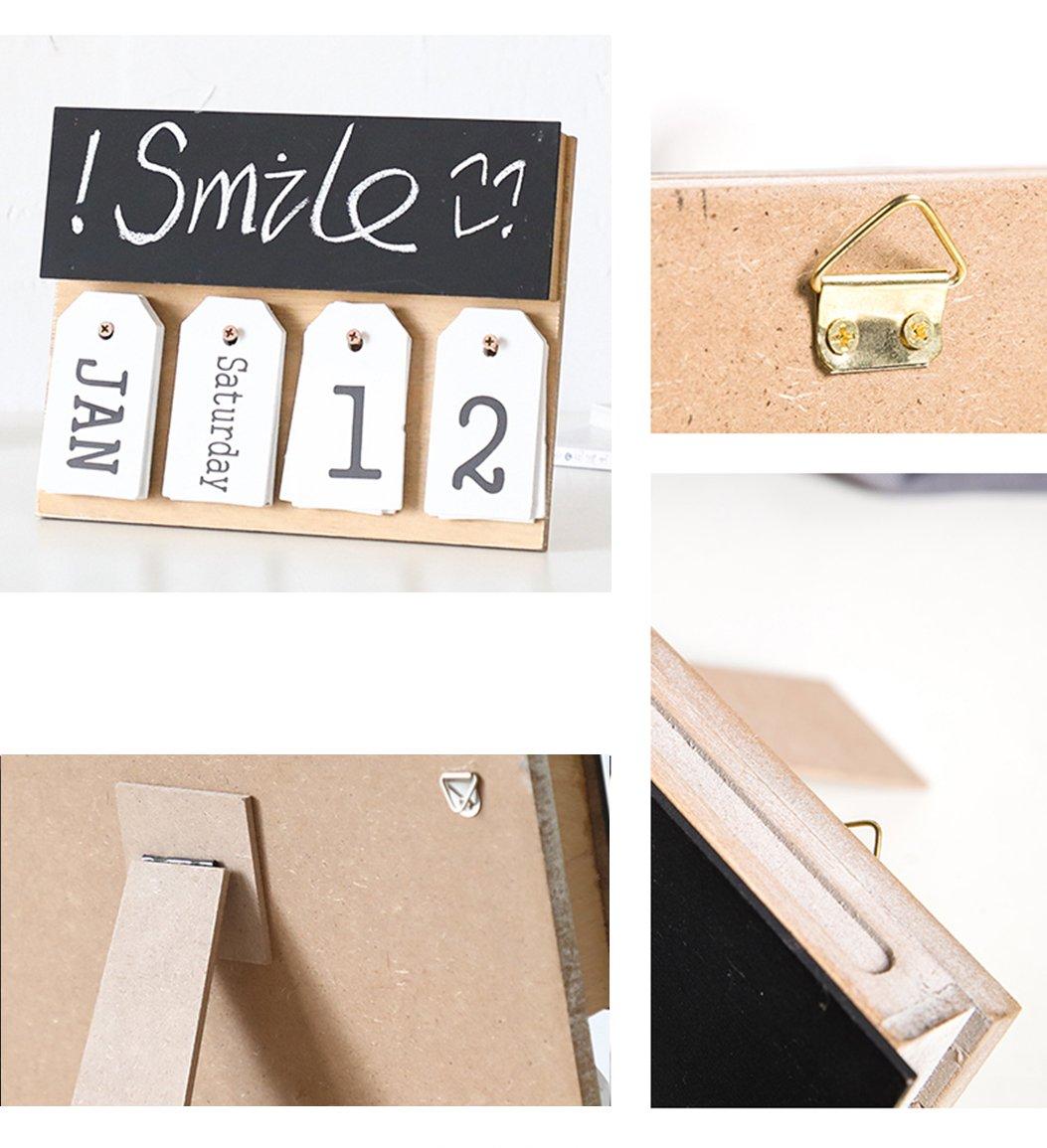 Black Wooden Perpetual Calendar Shabby Vintage Creative Wooden Square Calendar Desktop Accessories