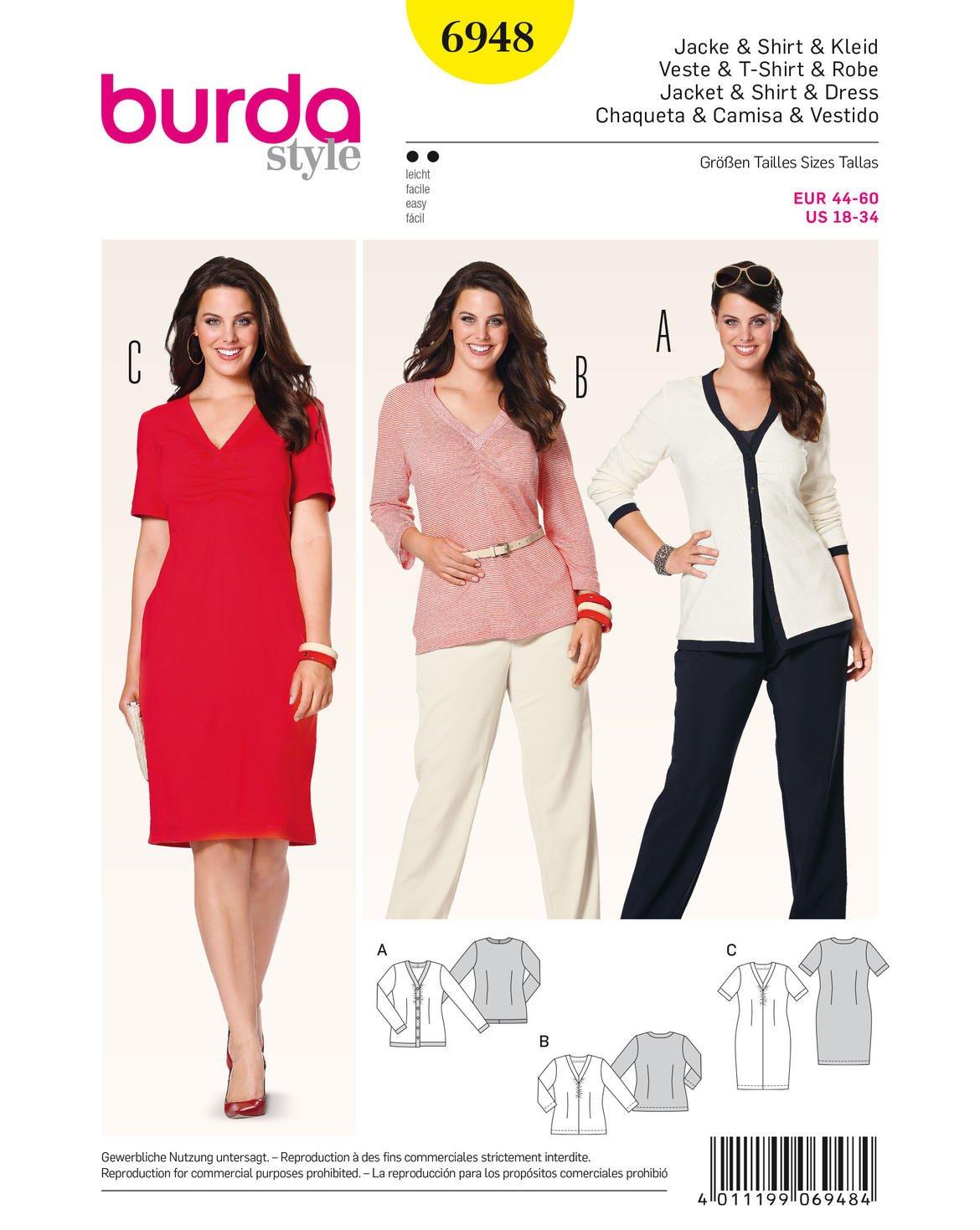Burda Schnittmuster Cardigan, Shirt, Kleid 6948: Amazon.de: Küche ...