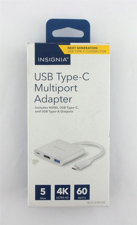 Insignia USB Type-C Multiport HDMI Adapter NS-PU378CHM 5Gbps 4K Ultra HD 60Watts