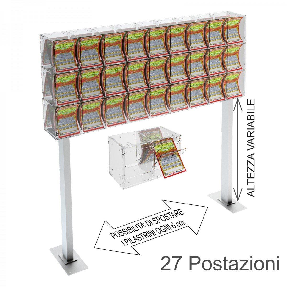Espositore gratta e vinci da banco in plexiglass trasparente a 27 contenitori munito di sportellino frontale lato rivenditore