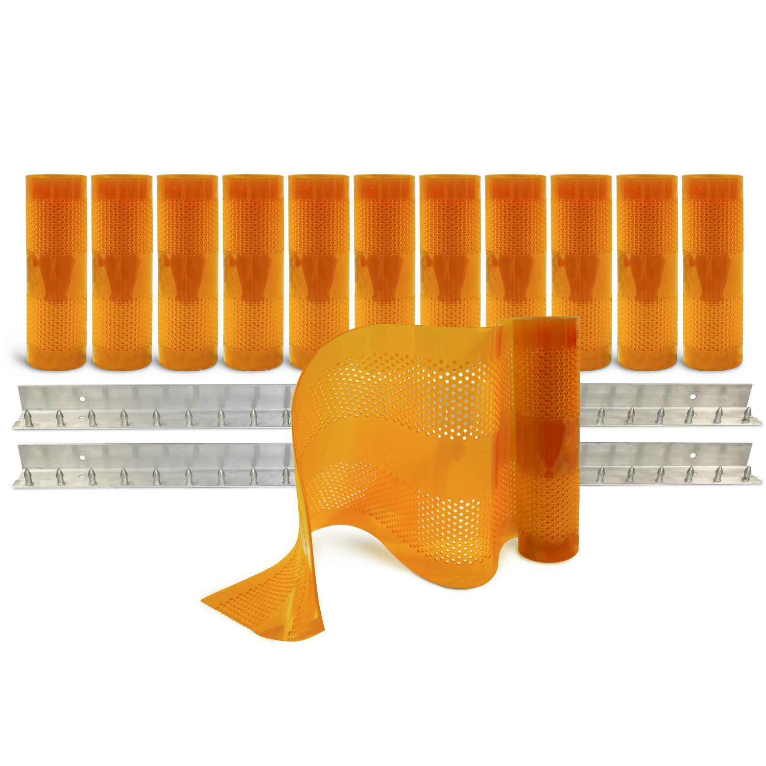 Aleco 443628 Clear-Flex II Standard AirStream Perforated PVC Strip Door Kit with MaxBullet Aluminum Mounting Hardware, 12'' Width x 120'' Height x 0.12'' Thick, Amber