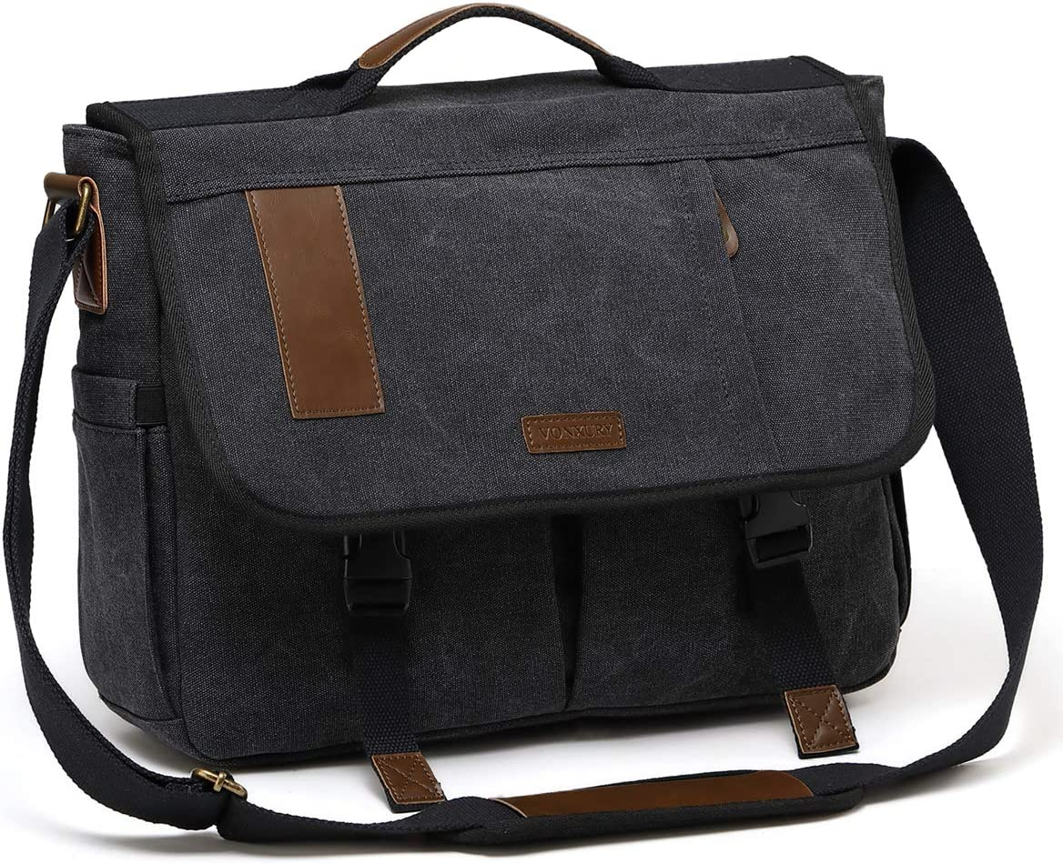 Mens Messenger Bag Canvas 15.6 Inch Laptop Shoulder Bag Water Resistant Briefcase Satchel Bag VONXURY