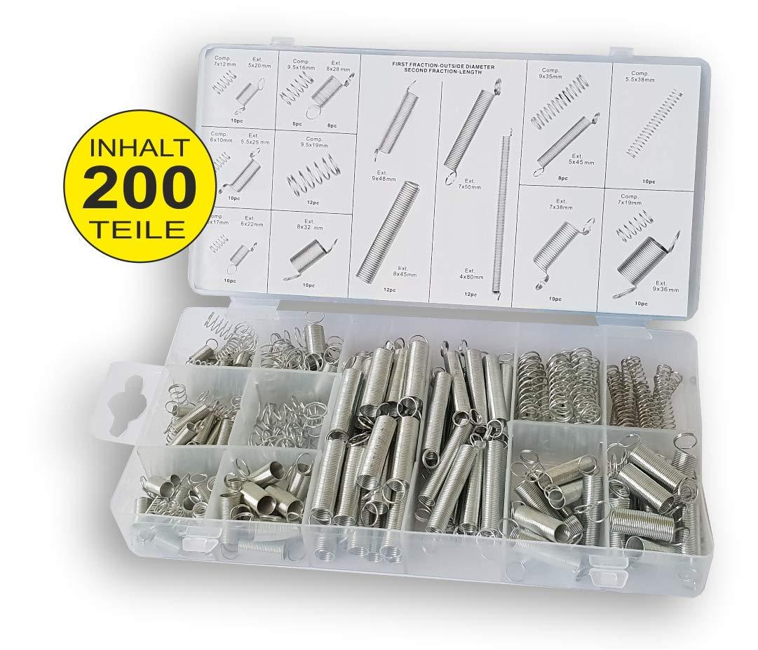 200-tlg Sortiment DKB Federn Druckfeder Set Zugfeder Satz Stahlfeder Spiralen DKB - Tools - Germany
