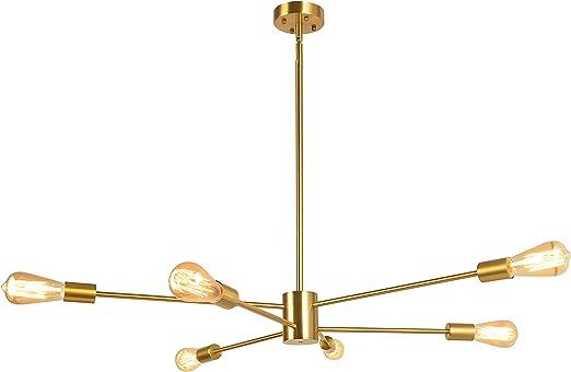 Bowrain 6 Lights Fixture Pendant Light Modern Sputnik Polished Gold Lamp Brushed Brass Mid Century Chandelier Hanging Flush Mount Light Fixture with Adjustable Arms for Dining Room Kitchen Living Room