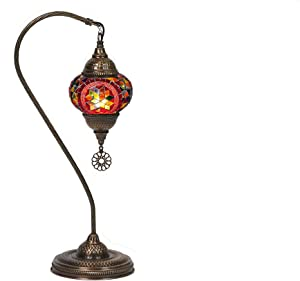 LaModaHome Turkish Moroccan Handmade Mosaic Glass Curvy Swan Neck Table Lamp Light with Decorative Dark Polished Copper Fixture for Bedroom, Livingroom and Winter Garden, Red Moon