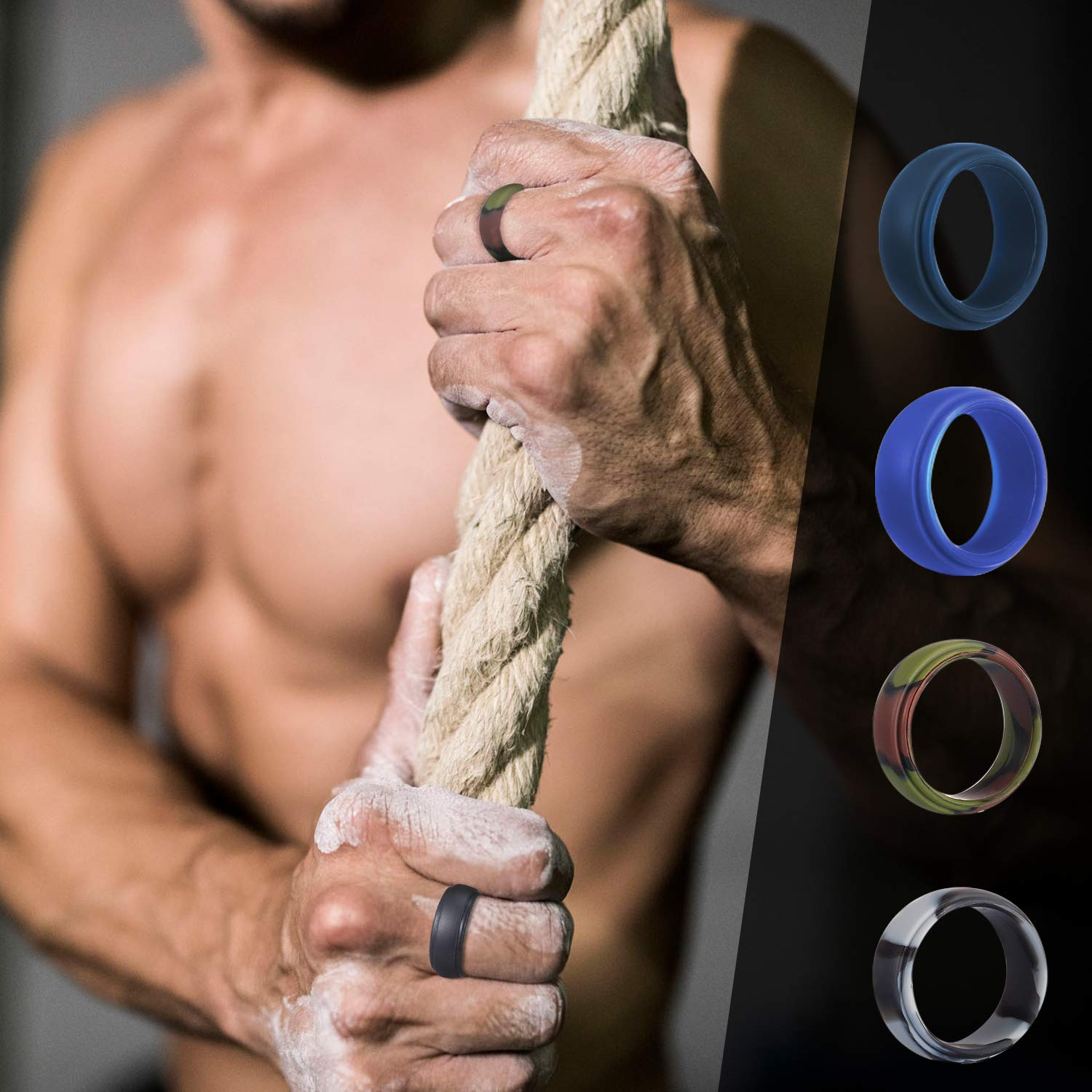15 Pack Rubber Bands for Men for Workout 15 Pack, 11 Colors Exercise /& Gym Rngeo Silicone Wedding Ring for Men