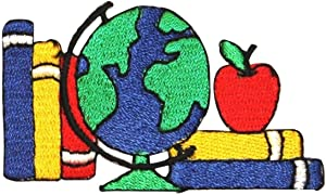 ID 0959 Books Globe Apple Patch Kids School Type Embroidered Iron On Applique