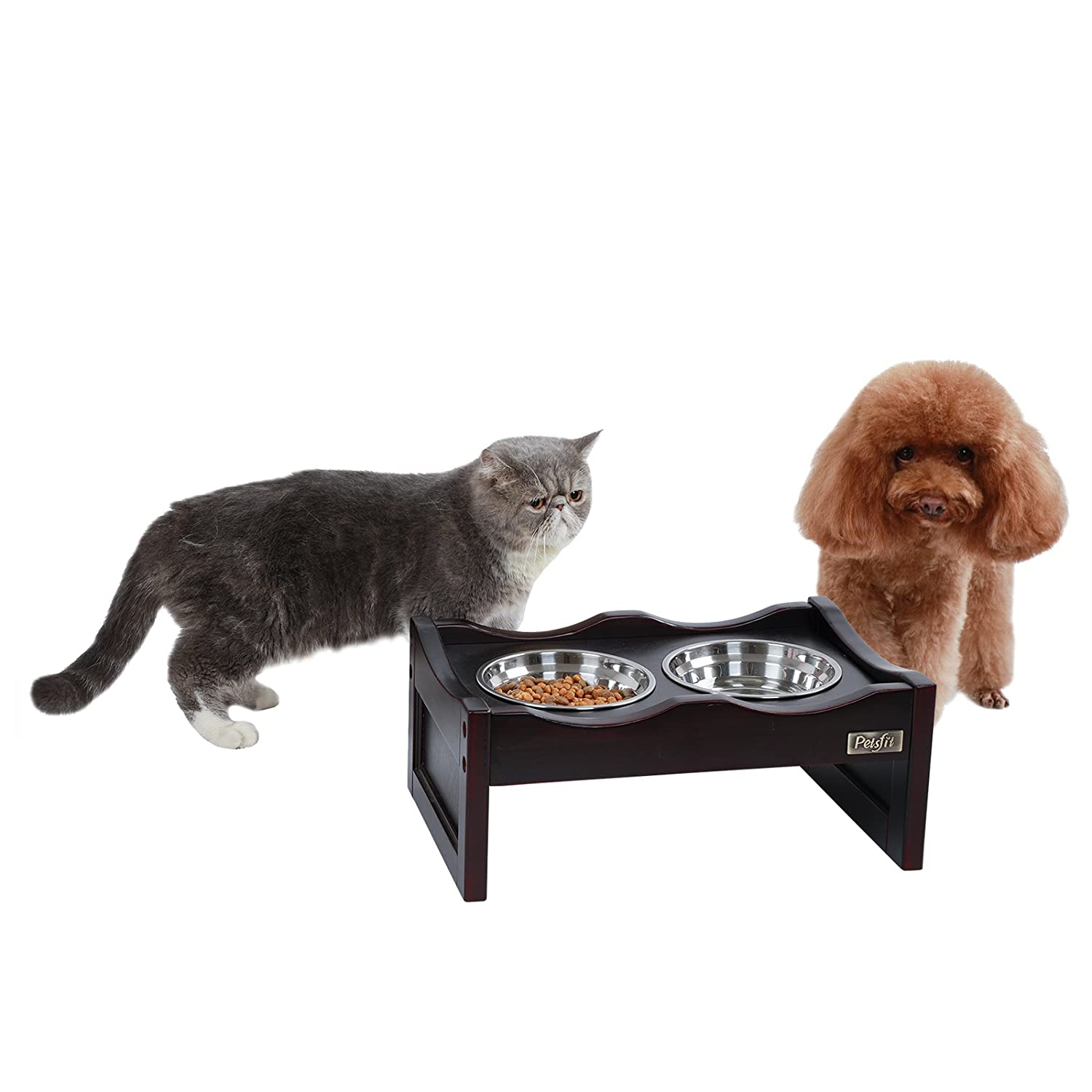 Espresso 15.7\ Espresso 15.7\ Petsfit Elevated Pet Dog Feeder 2 Stainless Steel Bowl For Small Dog 15.7  x 10.6  x 6.3