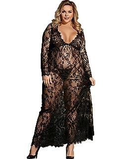 Dean Fast Women Plus Size Floral Lace Nightgown Long Lingerie Sleepwear  Chemise 1fe70ecf7