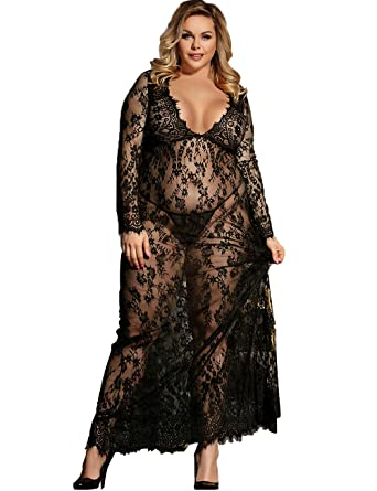 ad422f2d62b Dean Fast Women Plus Size Floral Lace Nightgown Long Lingerie Sleepwear Chemise  Black XL