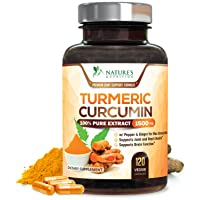 Turmeric Curcumin 100% Pure Extract 95% Curcuminoids with Bioperine Black Pepper for Best Absorption, Best Joint Support, Made in USA, Turmeric Pills by Natures Nutrition - 120 Capsules