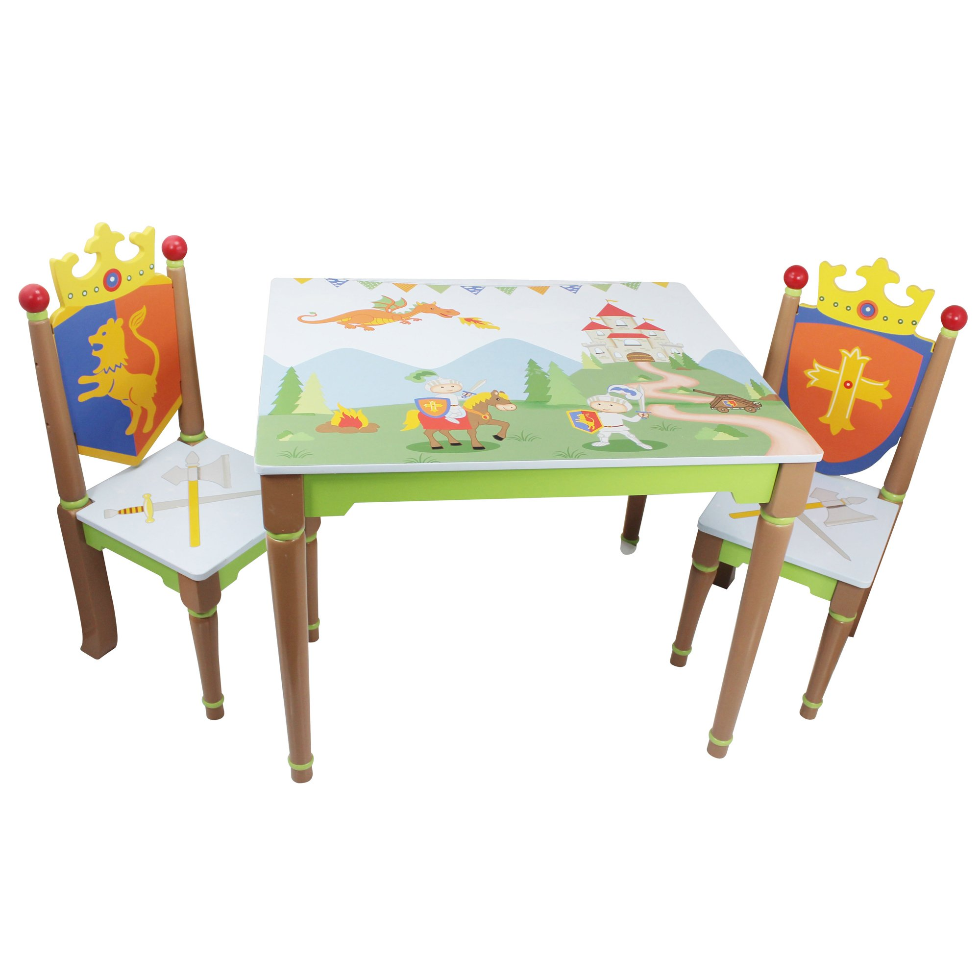 Fantasy Fields - Knights & Dragon Thematic Hand Crafted Kids Wooden Table and 2 Chairs Set |Imagination Inspiring Hand Crafted & Hand Painted Details | Non-Toxic, Lead Free Water-based Paint