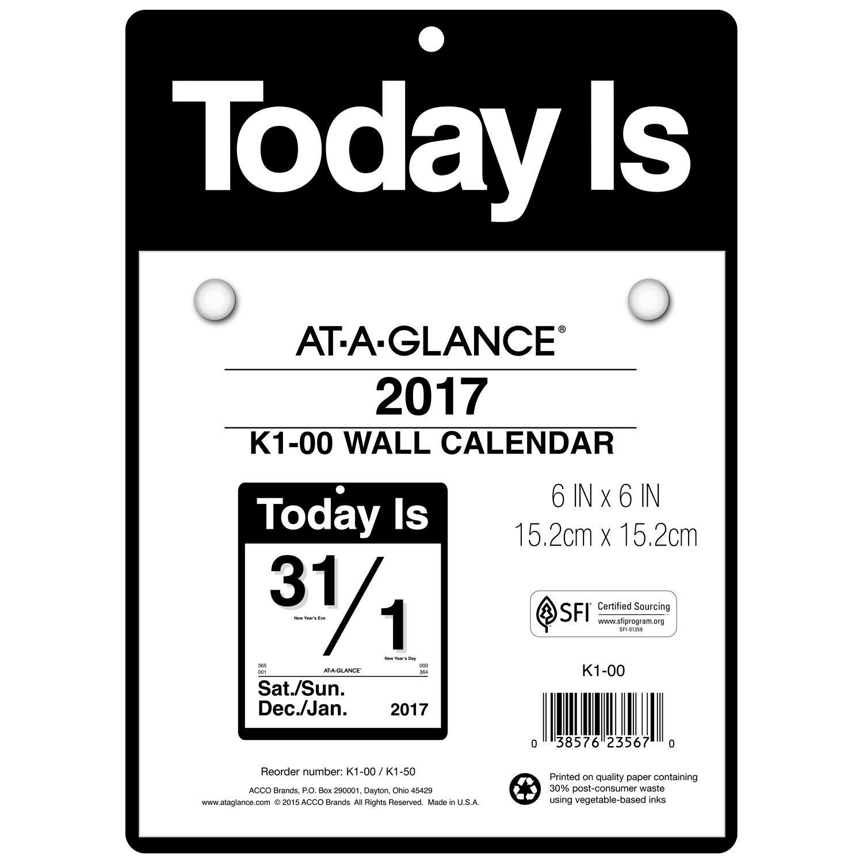 Amazon.com: At-A-Glance Calendario de pared 2017, Hoy Es ...