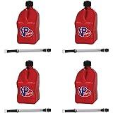 VP Racing Fuels Motorsport 5 Gallon Square Plastic Utility Jug Red & 14 Inch Hose (4 Pack)