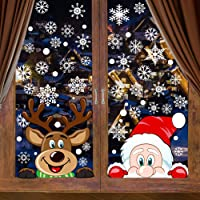 VEYLIN 6 Sheets 300 Pcs Christmas Window Clings, Snowflake Reindeer Santa Claus Window Stickers for Christmas Window…