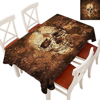 Amazon Com Skull Decorative Textured Fabric Tablecloth