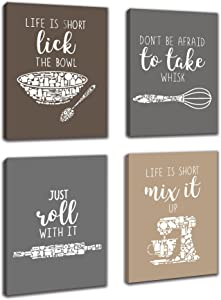 Inspirational Kitchen Canvas Framed Wall Art Decor - Prints Posters Kitchenware with Sayings Home Dining Room Cafe Restaurant Signs Bar Decorations , Set of 4 ,8