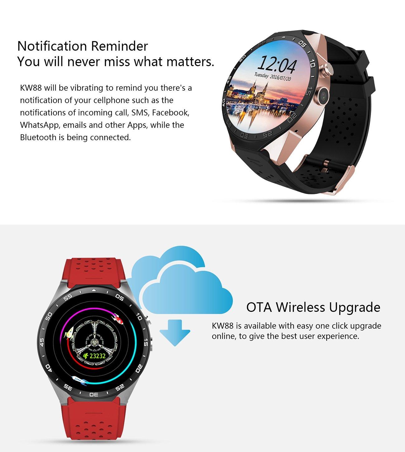 kingwear kw88 reloj inteligente con 3 G Quad Core apoyo 2.0 MP cámara Bluetooth tarjeta SIM WIFI GPS Monitor de frecuencia cardíaca para Android 5.1, ...