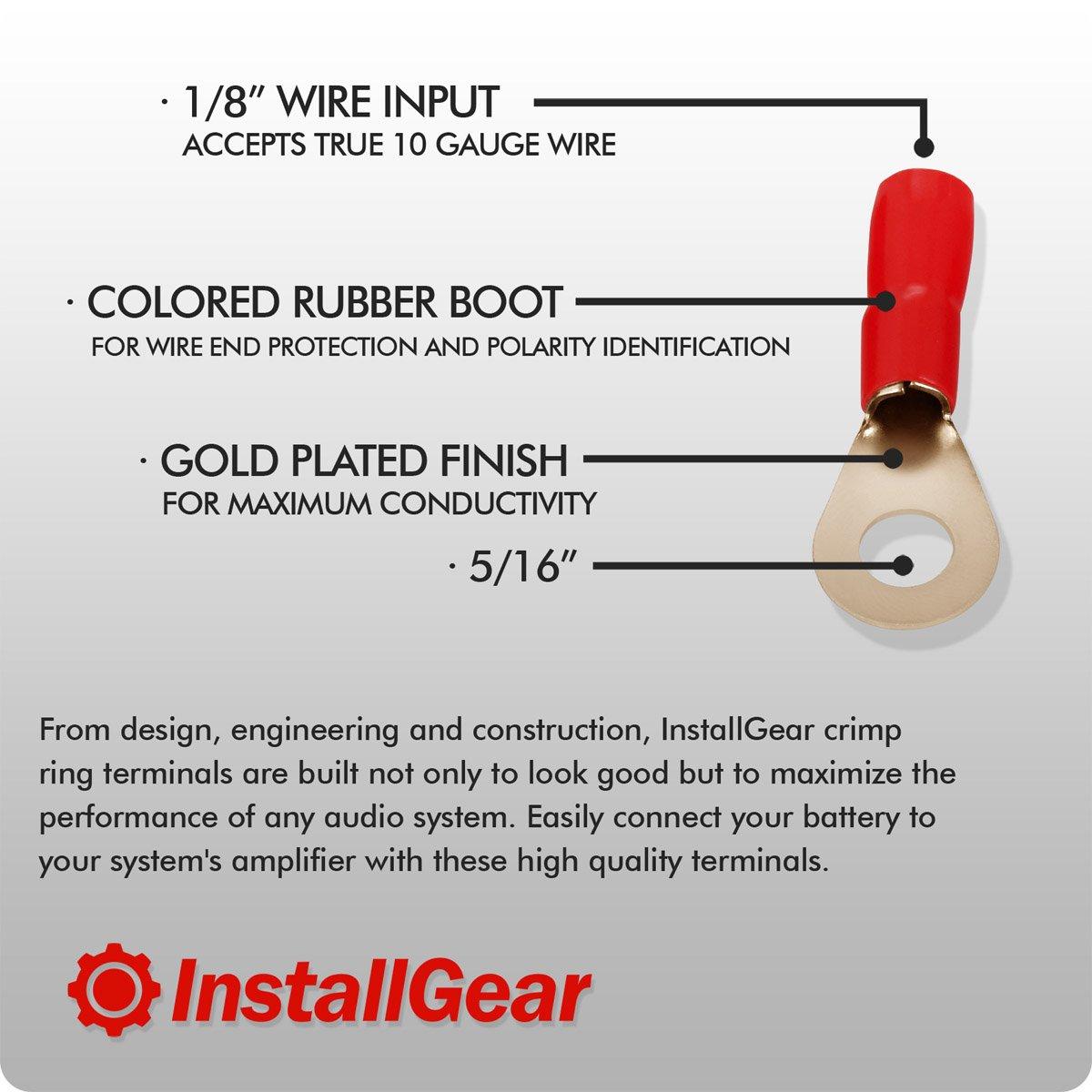 InstallGear 10 Gauge AWG Crimp Ring Terminals Connectors 20-Pack 10 Positive, 10 Negative