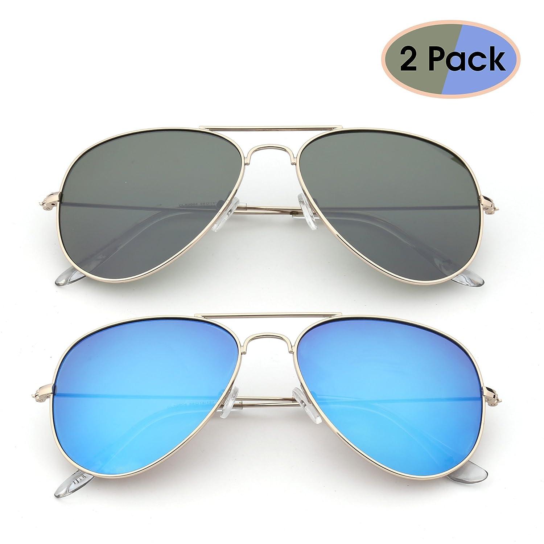23d4cc7d53d Amazon.com  Retro Mirror Aviator Sunglasses Flash Tinted Lens Eyeglasses  for Women Men UV400 2 Pack (Green   Blue)  Shoes