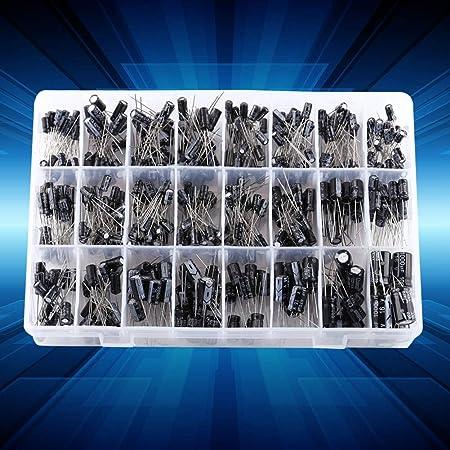 Wifehelper【500点&24種類セット】電解コンデンサキット 電子部品バッグ 0.1uF~1000uF 電解コンデンサ アルミ品揃えキット 電解コンデンサ DIYの高級オーディオコンデンサ 回路部品