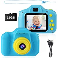 Kids Camera, AIMASON Digital Video Camera Gift for Age 3 4 5 6 7 8 9 10 Year Old Boys, Mini Rechargeable and Shockproof Camera Creative DIY Camcorder for Little Boy with 32GB SD Card (Blue)