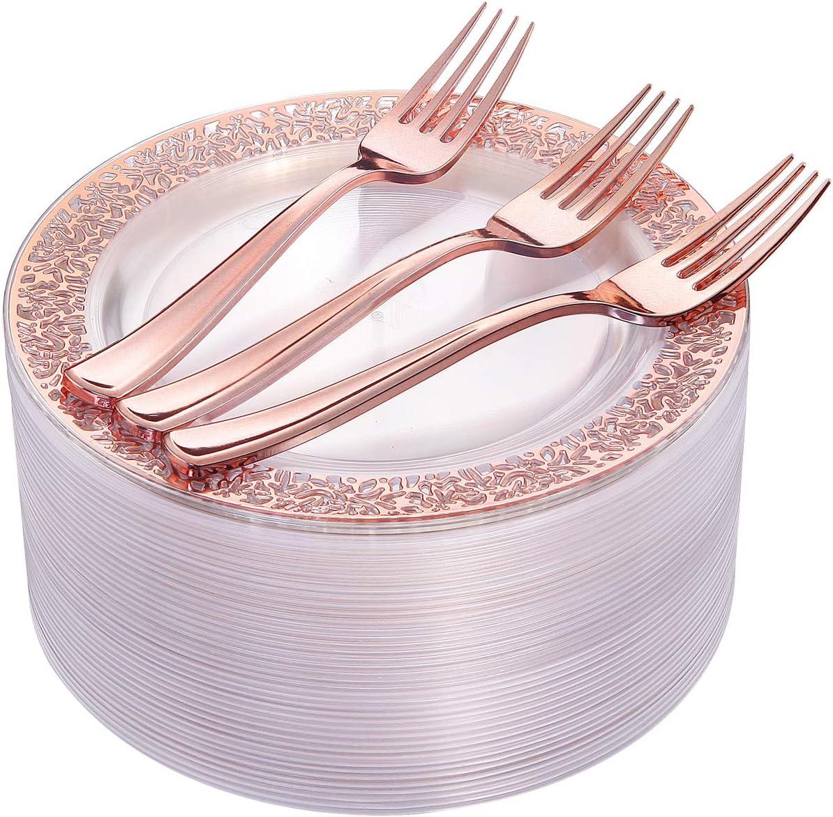 100 Becher 800-teiliges Geschirr-Set aus silbernen Kunststofftellern Silberfarben 72pcs dessert plates /& 72pcs forks rose gold 100 Papierhalme 100 Servietten 300 silberne Kunststoff-Tellern
