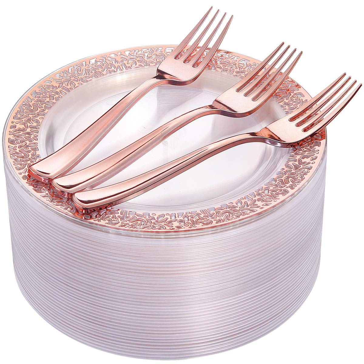 72 Pieces Rose Gold Dessert Plates 7.5'' & 72 Pieces Disposable Forks 7.4'', Clear Lace Design Plastic Salad Plates, BPA Free Appetizer Plates for all Holidays & Occasions by I00000