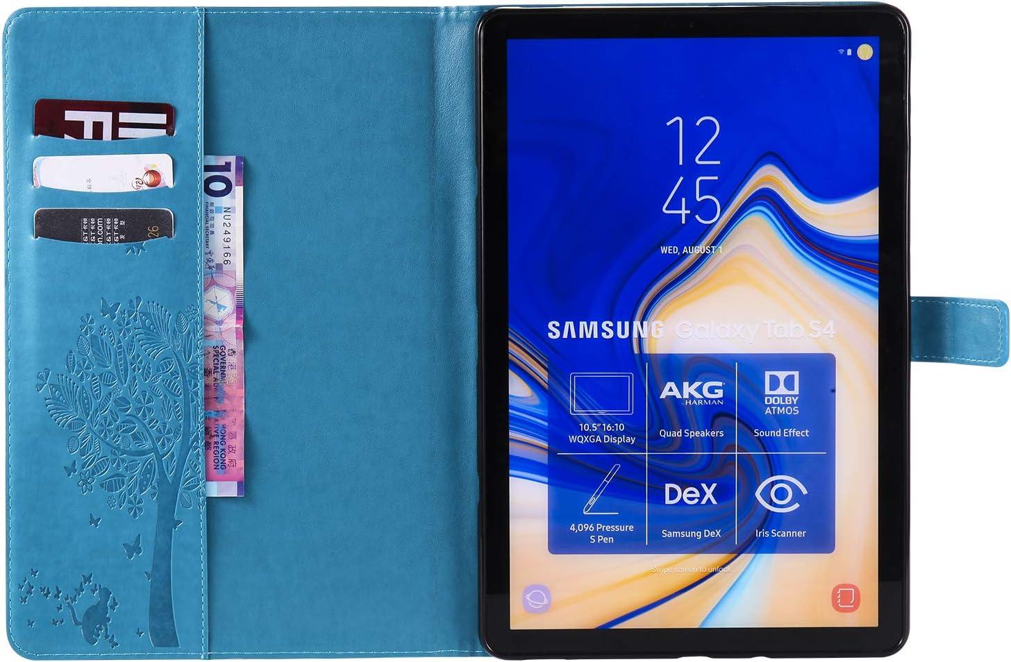 T830//T835//T837 ,Gepr/ägt Sonnenblume Leder Flip Stand Brieftasche Schutzh/ülle mit Kartenhalter und Auto Wach//Schlaf,Floral Blau Artfeel H/ülle Kompatibel mit Samsung Galaxy Tab S4 10.5 Zoll 2018