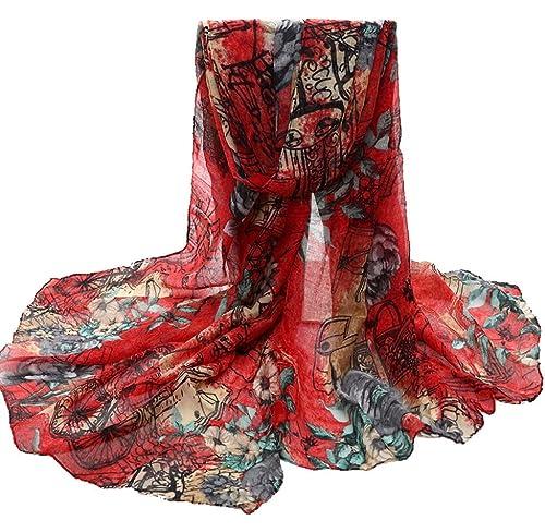 Ularma Moda Flor Womens gasa robó bufandas abrigos de cuello largo chal bufanda
