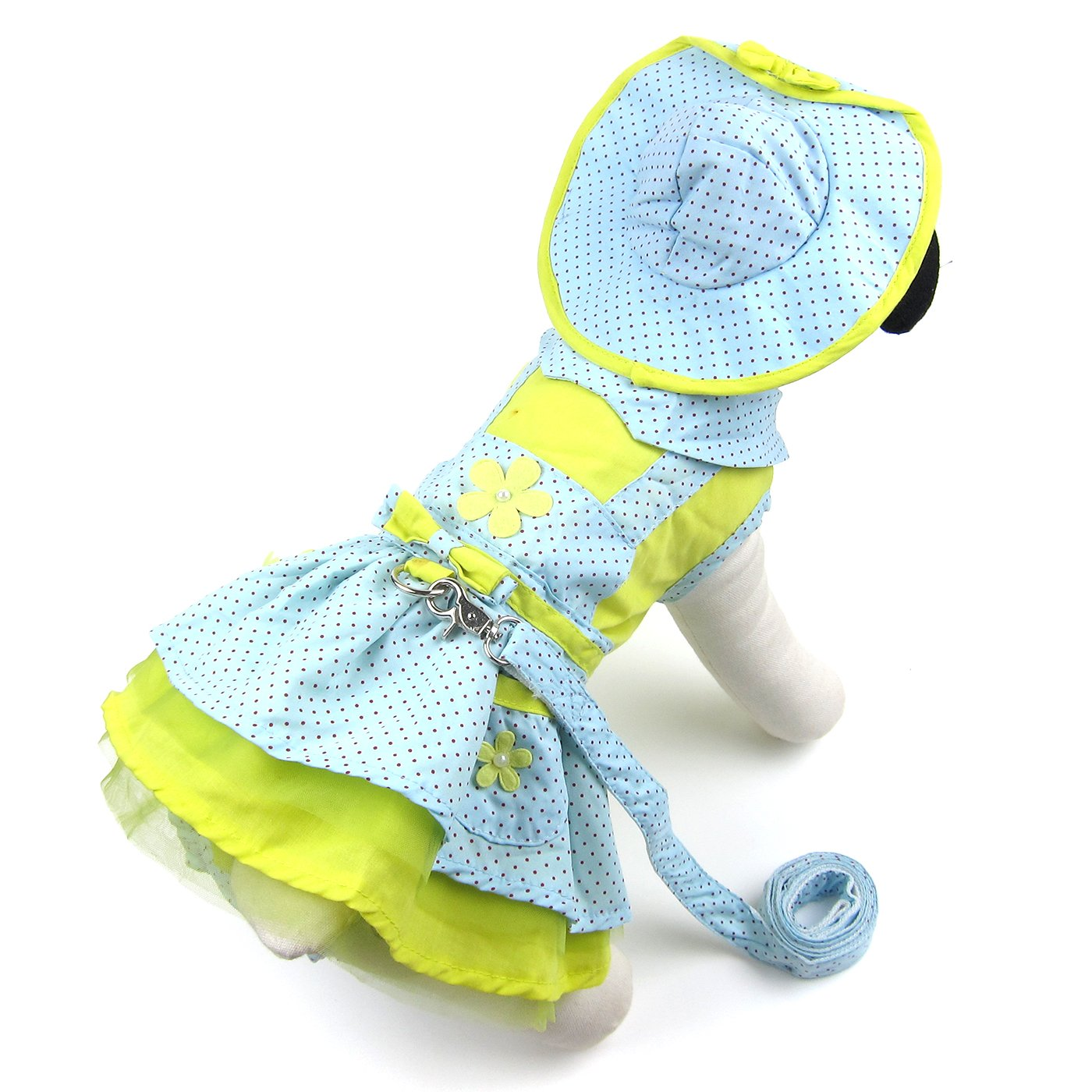 Alfie Pet by Petoga Couture - Penrose Polka Dot Dress with Hat, Matching Panties and Leash Set - Color: Blue, Size: XL