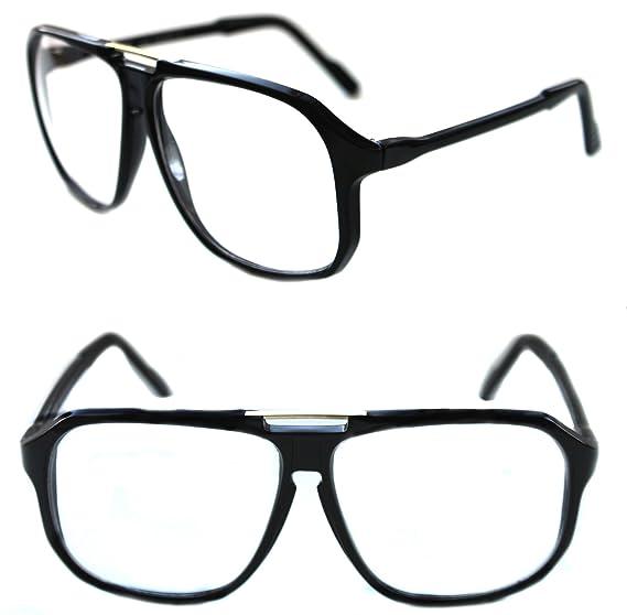 34f3e73c483 Men s Hip Hop 80 s Gazelle Vintage Clear Lens Eye Glasses Grandmaster Large  Square Shape Retro 80 s