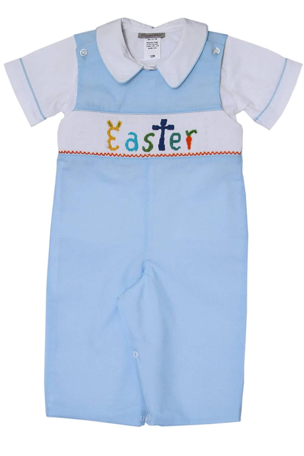 Carouselwear New Born Baby Boy Easter Bunny Longall Overalls Hand Smocked Blue