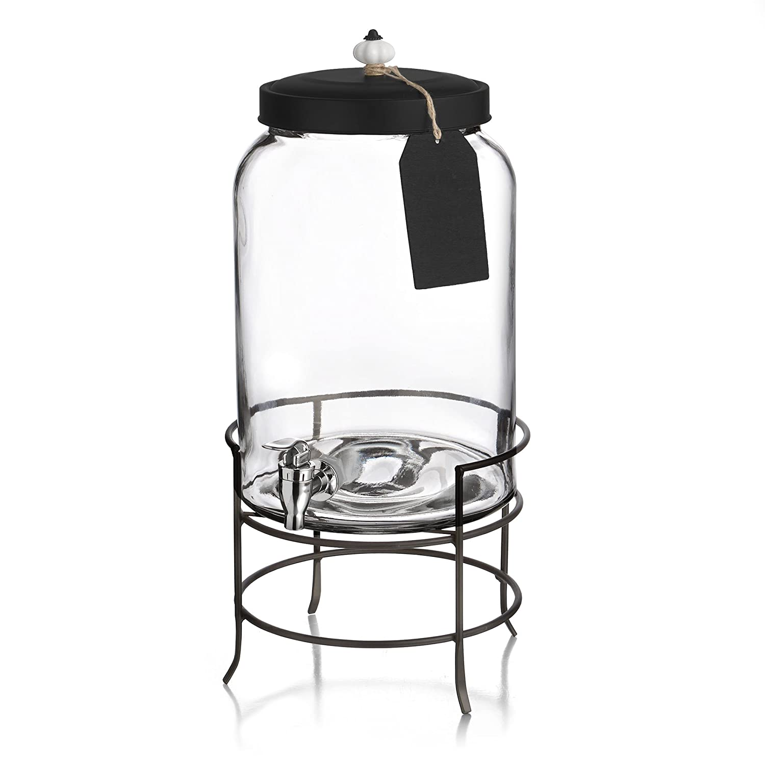 "Style Setter Franklin 210235-GB 3 Gallon Glass Beverage Drink Dispensers with Metal Stand & Lid, Tag and Ceramic Knob 10x17"" Clear"