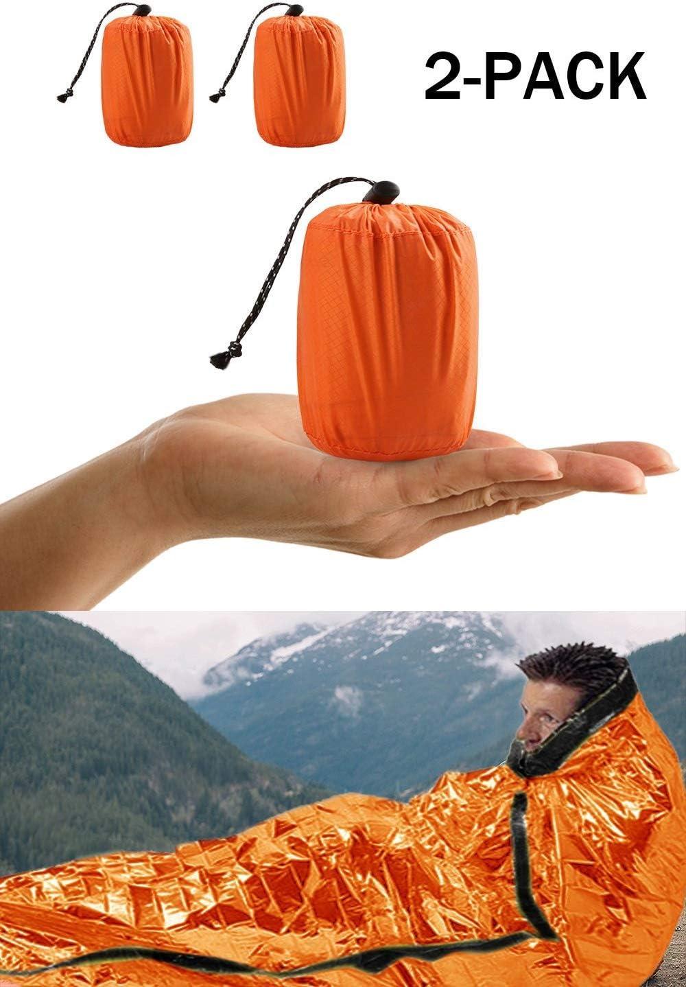 ACVCY Emergency Sleeping Bag, 2PCS LightweightEmergency Bivy Sack Survival Compact Survival Sleeping Bag WaterproofThermal Emergency Blanket Multi-use Survival Gear for Outdoor, Hiking, Camping: Home & Kitchen