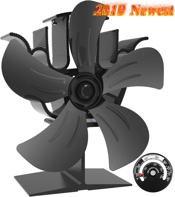 Ventilador Estufa Grande de 5 aspas para un Espacio Grande en el Registro/Estufa de Leña/Estufa/Chimenea, Ventilador de Chimenea Silencioso Ecológico (Negro)