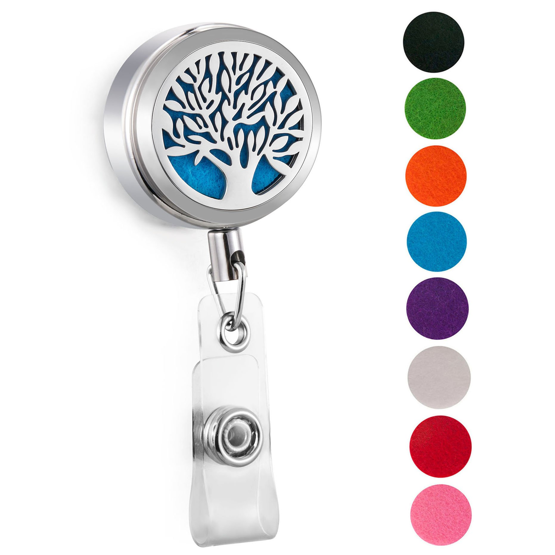 CAPTTE Aromatherapy Essential Oil Badge Diffuser for Nurse Wear-Resisting and Retractable Badge Holder Reel Clip On Id Card Holders with Tree of Life