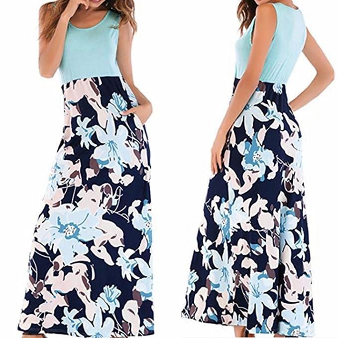 33779a1919ad Kingko® Sommerkleid Damen Partykleid Lang Chiffon High Waist Striped Sleeveless  Beach Kleid Elegant Kleider Maxikleid Streifen Schulterfrei Rundhals ...