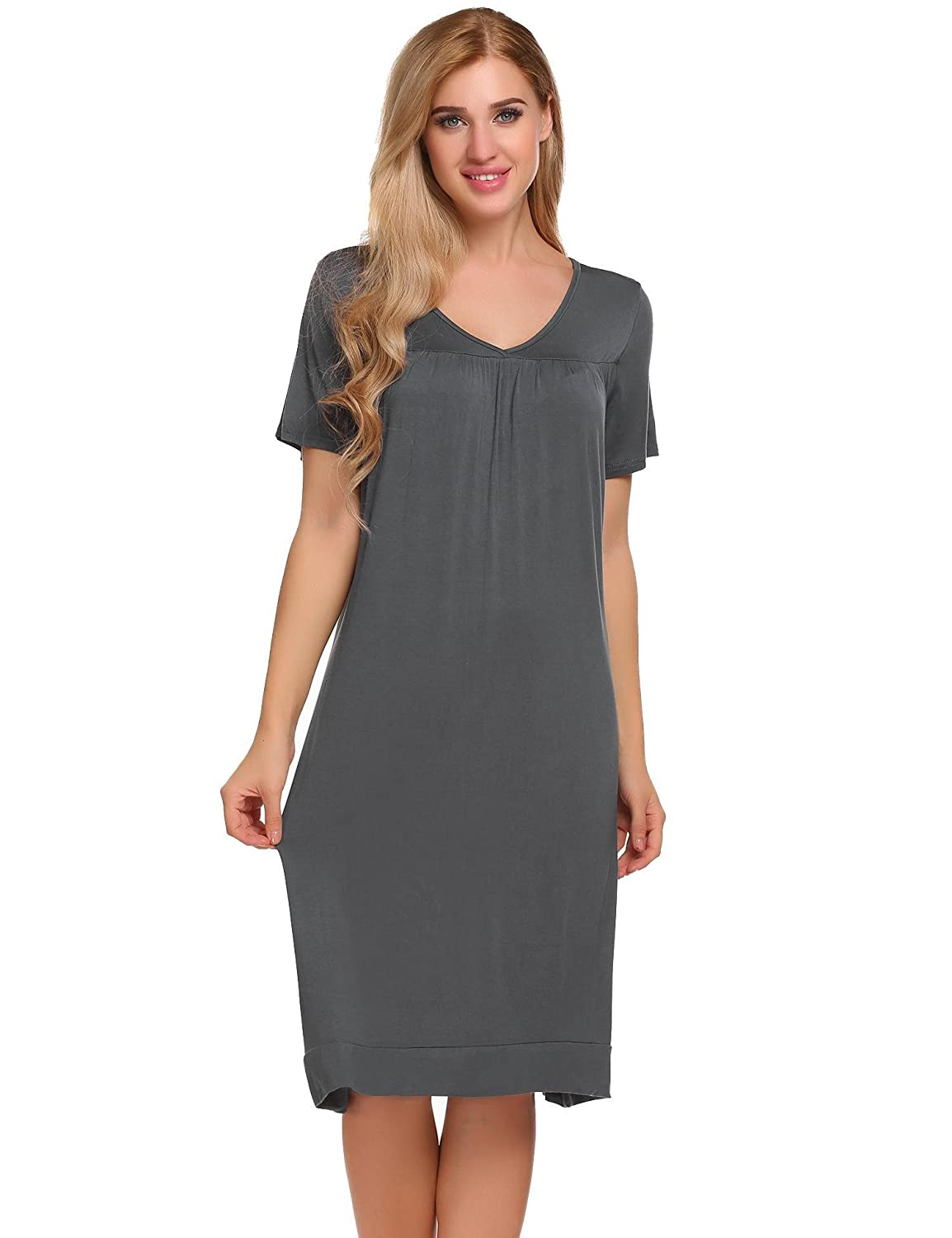 Grey L'amore Short Sleeve Womens Nightgown Cotton V Neck Midi Sleepwears for Women SXXL