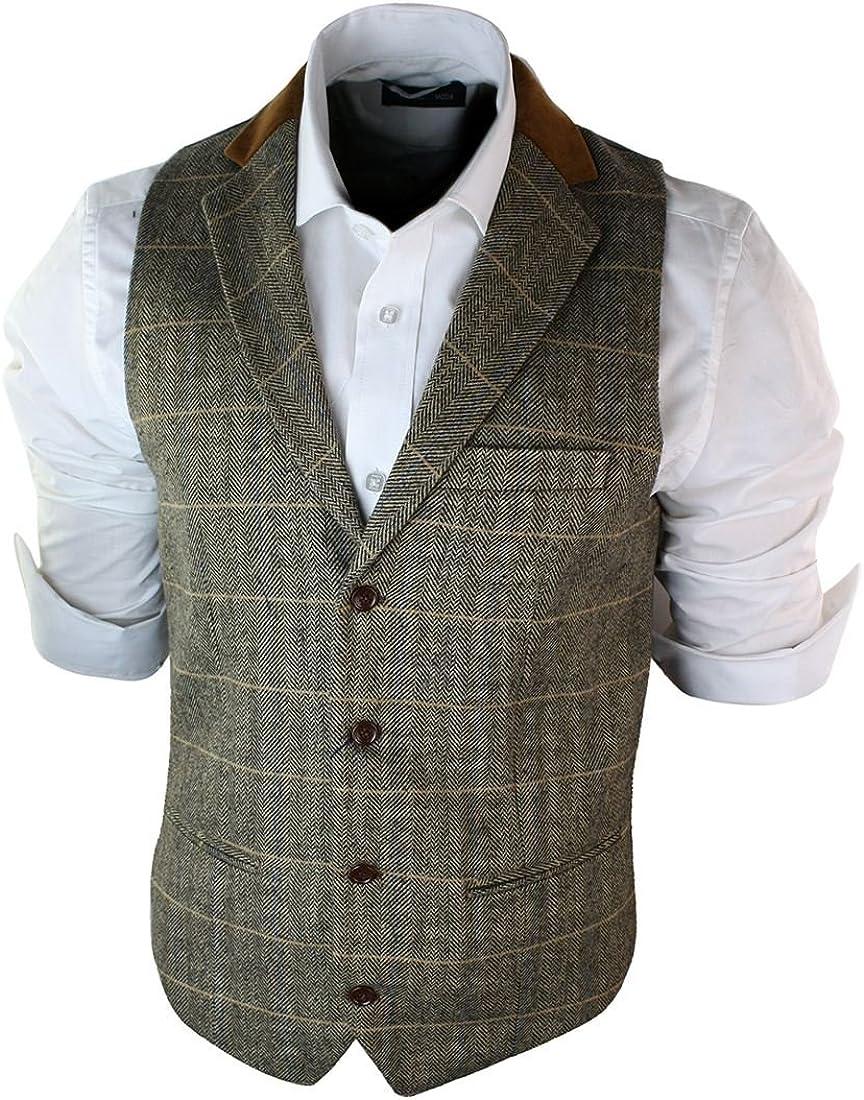 Herrenweste Braun Holzbraun Grau Tweed Fischgr/äte Design Vintage Eng