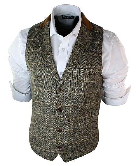 748a6118bfb Mens Vintage Tweed Check Waistcoat Herringbone Tan Brown Charcoal Grey Slim  Fit