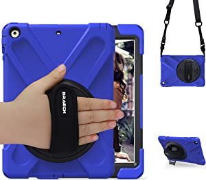 BRAECN iPad Air Case, iPad Air 9.7 Shockproof Case [Heavy Duty Full-Body Cover] with 360 Degree Swivel Kickstand/ Hand Strap/Adjustable Shoulder Strap for Apple iPad Air 2013 Model Case -Blue