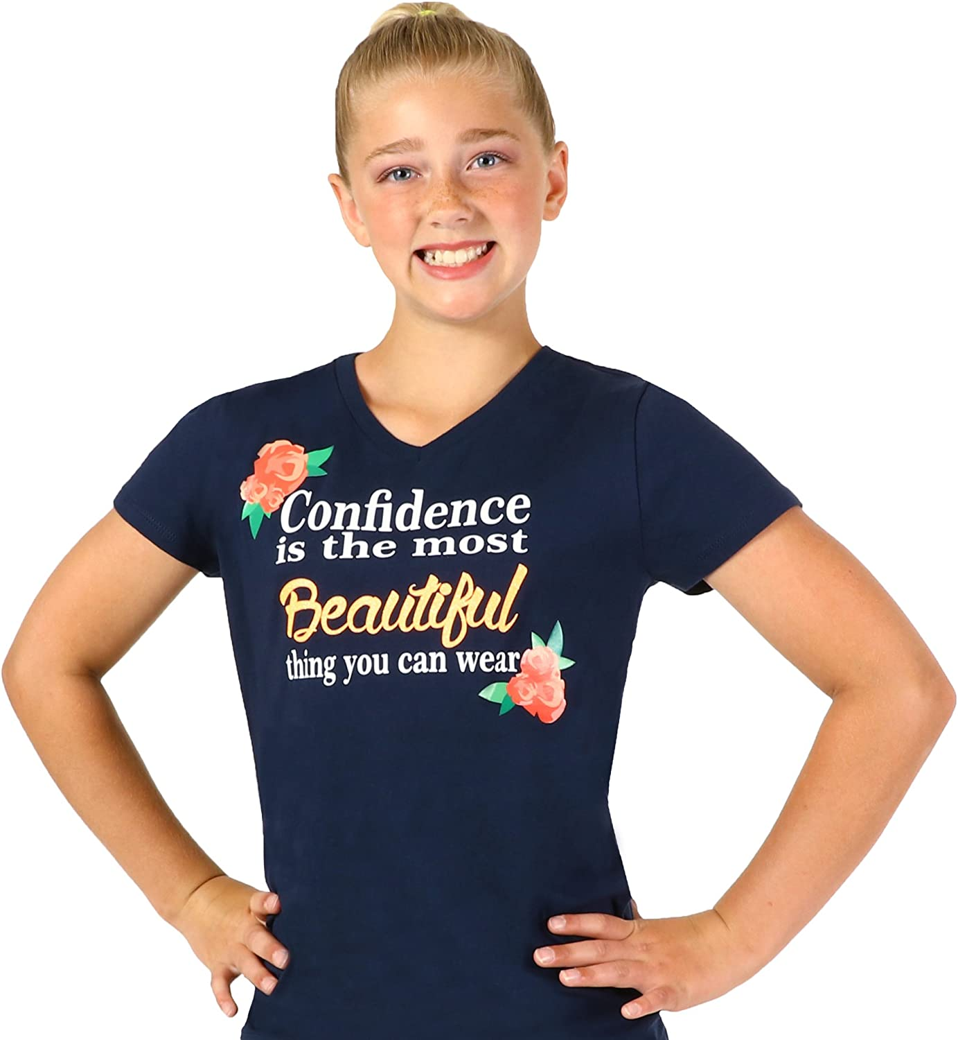 Apple Green or Navy Snowflake Designs Confidence is Beautiful V Neck T-Shirt