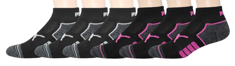 PUMA Womens 6 Pack Quarter Crew Socks