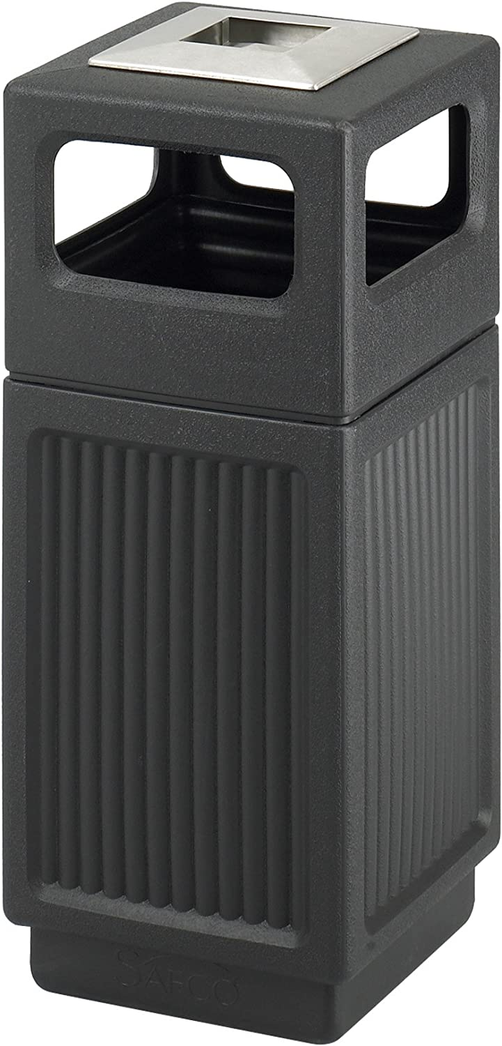Safco Products Canmeleon Outdoor/Indoor Recessed Panel Trash Can with Ash Urn 9474BL, Black, Decorative Fluted Panels, Stainless Steel Ashtray, 15 Gallon Capacity: Office Products